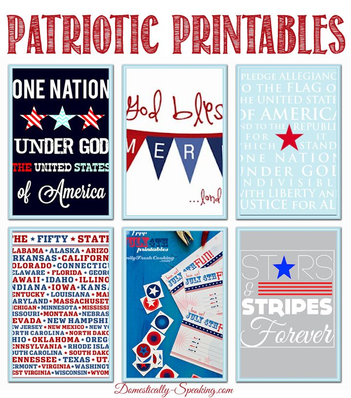 Patriotic Printables for the 4th of July, Memorial Day: