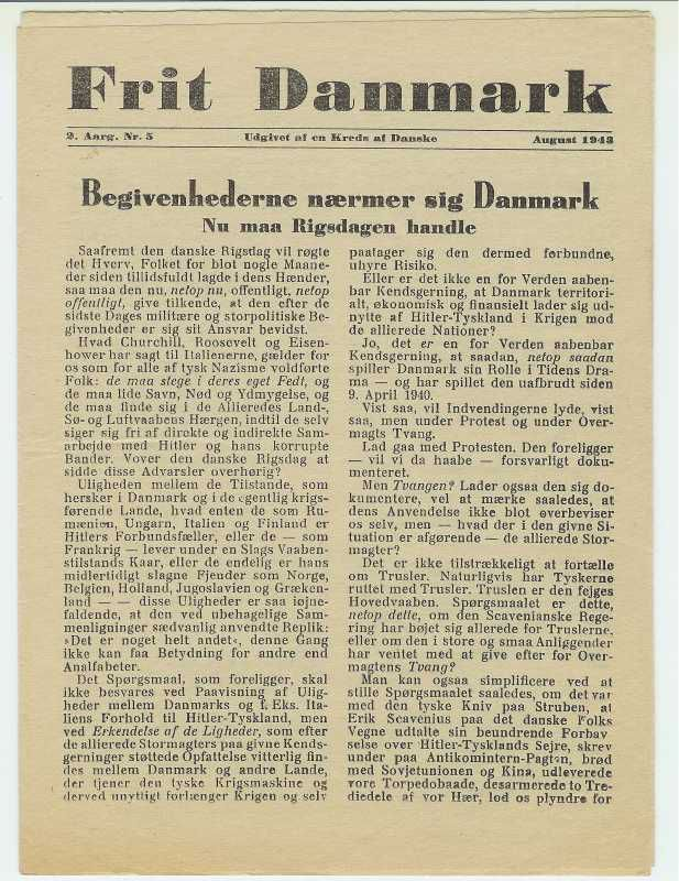 Free Denmark, illegal newspaper during the occupation. Nationalmuseets Samlinger Online