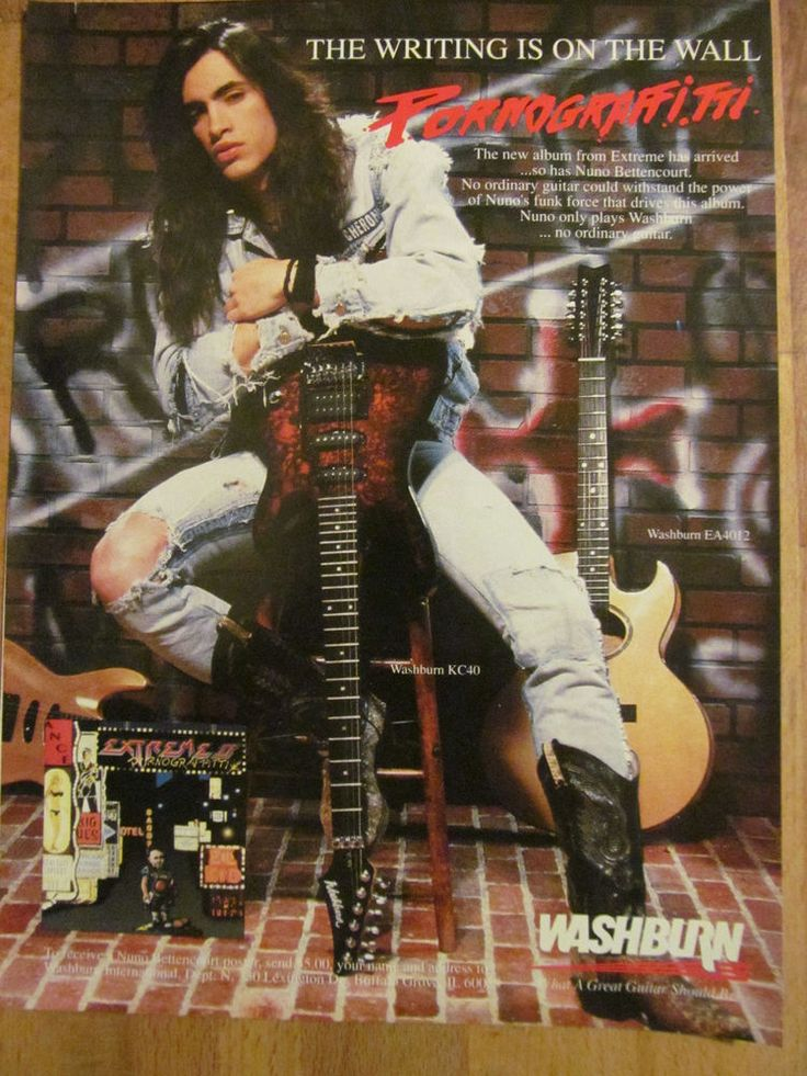 Extreme, Nuno Bettencourt, Washburn Guitars, Full Page Vintage Ad