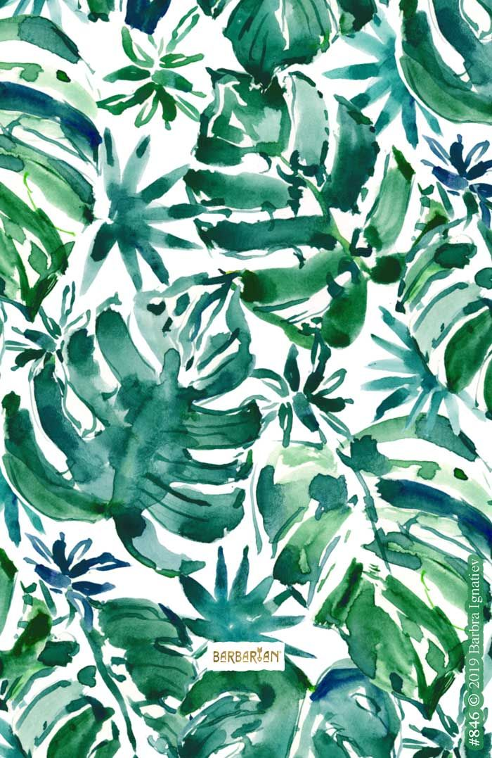 Mo Leaves Less Probs Green Tropical Monsteras Barbarian By Barbra Ignatiev Bold Colorful Art Plant Wallpaper Summer Prints Watercolor Pattern