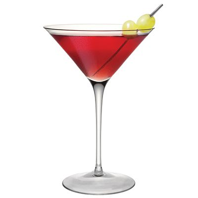 Smirnoff White Grape Cosmo (1 1/2 ounce(s) Smirnoff White Grape Vodka 1/4 ounce(s) triple sec 2 ounce(s) cranberry juice 1 ounce(s) lemon-lime soda 1 squeeze lemon wedge)