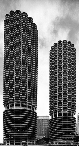 Marina City Towers, Chicago by Bertrand Goldberg in 1959-64
