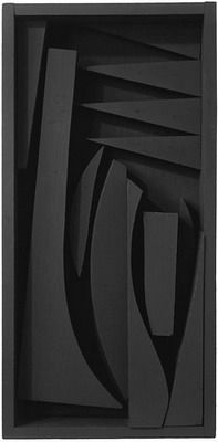 "Louise Nevelson Untitled, 1958 wood painted black 28 x 13-5/8 x 3-1/4"" (71.1 x…"
