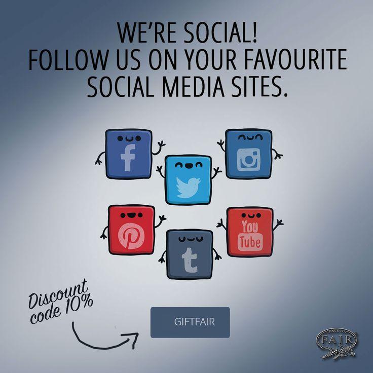 Seguici su tutte le nostre pagine social e approfitta del codice sconto GIFTFAIR del 10 % da spendere su F.A.I.R.-STORE® http://www.fair-store.com/index.php?lang=it La promozione è valida fino al 31 luglio 2016.  Follow us on all our social pages and take advantage of the 10 % discount code GIFTFAIR to spend on F.A.I.R.-STORE® http://www.fair-store.com/index.php?lang=en The promotion is valid until 31 July 2016.