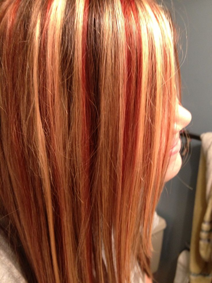 red and caramel hair highlights | Caramel Red Highlights ...