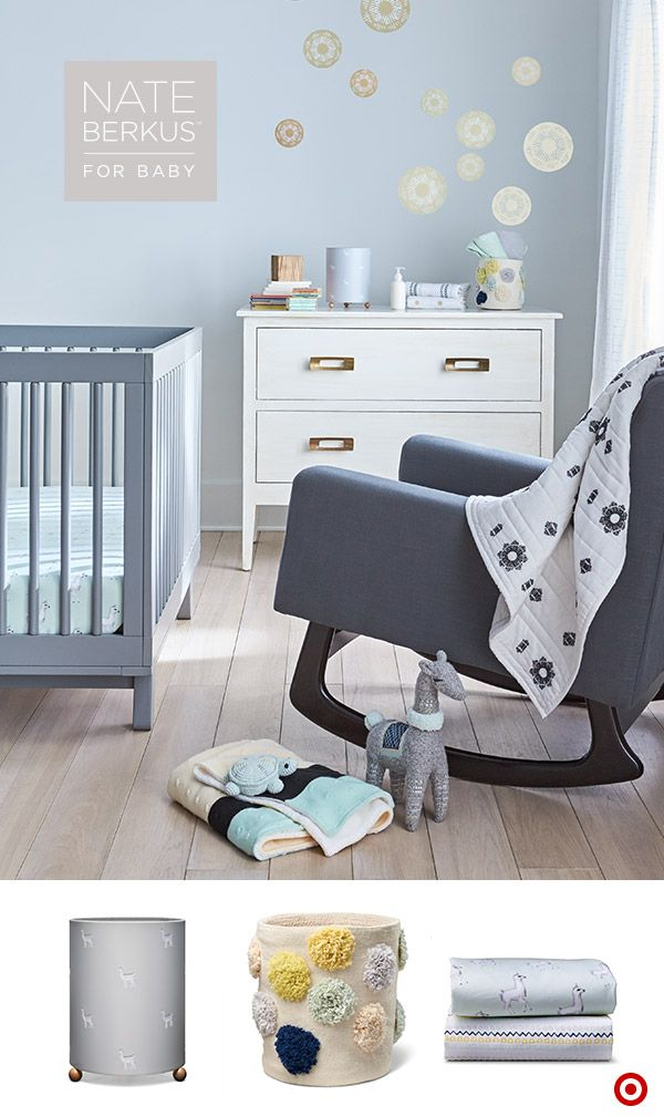 Only at Target, this Nate Berkus nursery includes beautiful fabrics, high-end touches and the sweetest decor around. Using a mix of embroidery, metallics, pom poms, faux fur and fun patterns (Llamas? Yes, please!), this nursery is the perfect sanctuary for Baby (and you) to take in a few relaxing snuggles.