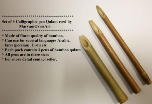 3 Calligraphy Reed Pens Qalam Made Of Bamboo By