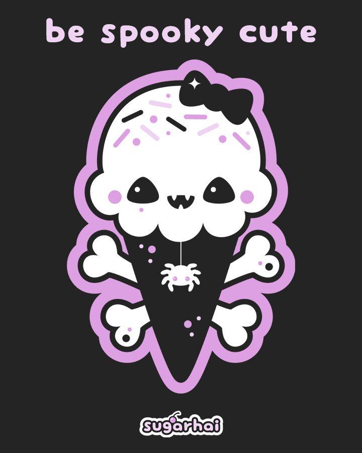 Creepy Cute Halloween Ice Cream T Shirts Spooky Kawaii Etsy Creepy Cute Goth Wallpaper Cute Halloween