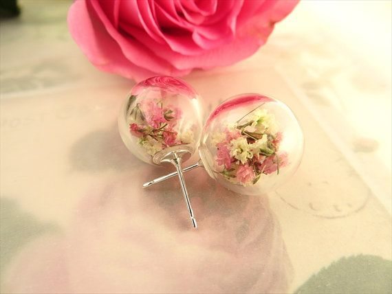 Stud Earrings Real Dried Flower Earrings by SeaMeadowDesigns