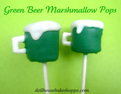 Make these easy green beer marshmallow pops for St. Patrick's Day HERE at the Dollhouse Bake Shoppe.