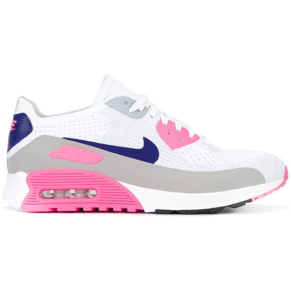 Nike Air Max 90 Ultra 2.0 Flyknit sneakers ($179) ❤ liked on Polyvore featuring shoes, sneakers, white, lace up shoes, white lace up sneakers, white flyknit trainer, flyknit sneakers and white trainers