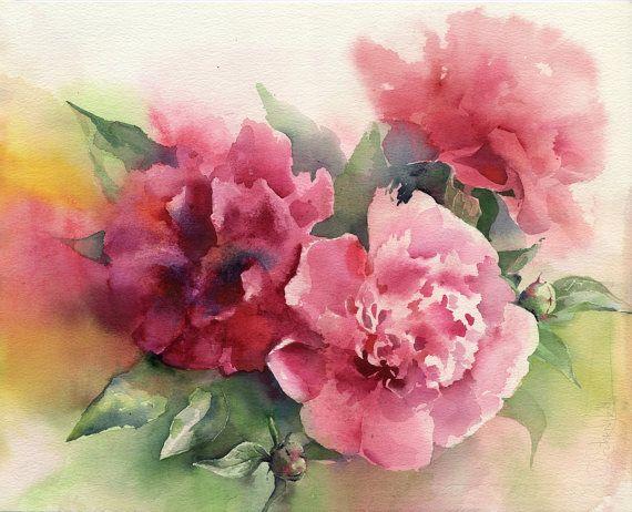 Original watercolor flower painting Paeony by Olga Sternyk