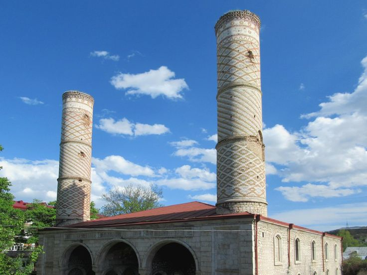 The Yukhari Govhar Agha Mosque (1883) in Shushi, Republic of Nagorno Karabakh, is also known as the Verkhiya Mosque. The entire Muslim population of Shushi fled in 1992.