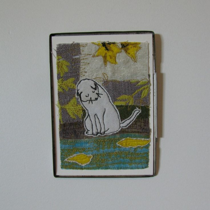 Wistful White Kitty - embroidered picture in vintage tin | Felt