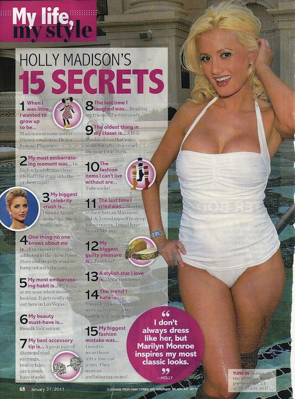 Holly Madison Life and Style Magazine Most Embarrassing Moment