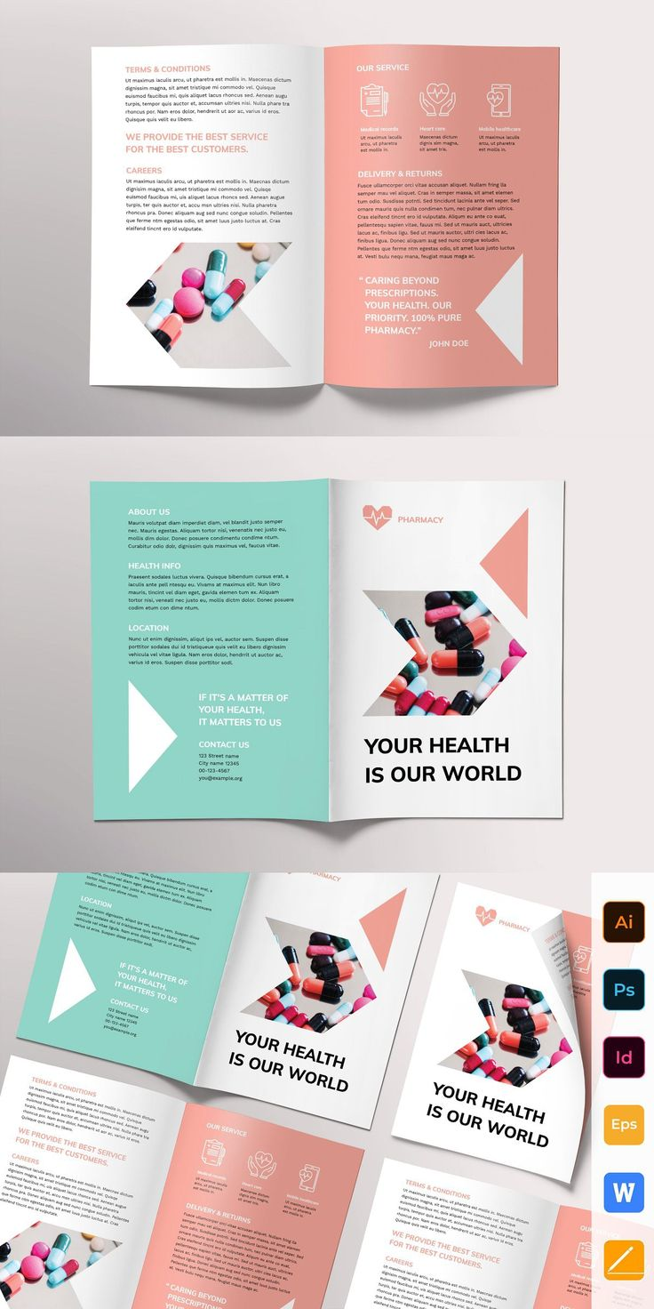 Pharmacy Brochure Bifold Booklet design, Brochure, Pharmacy