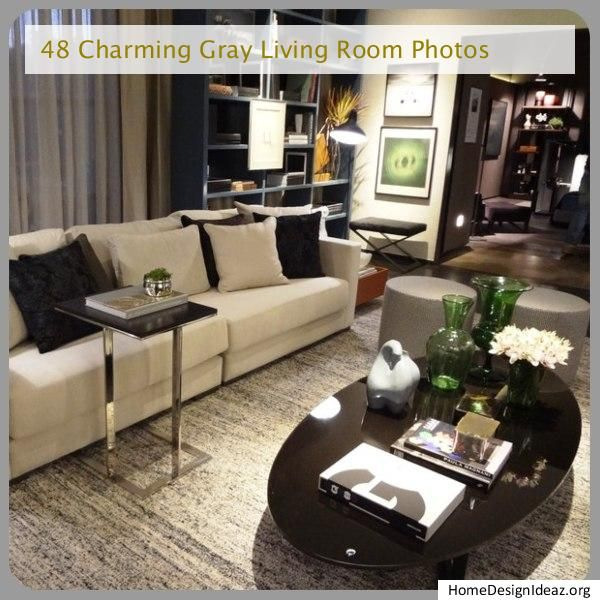 Gray Living Room Furniture Layout With Fireplace And Tv On