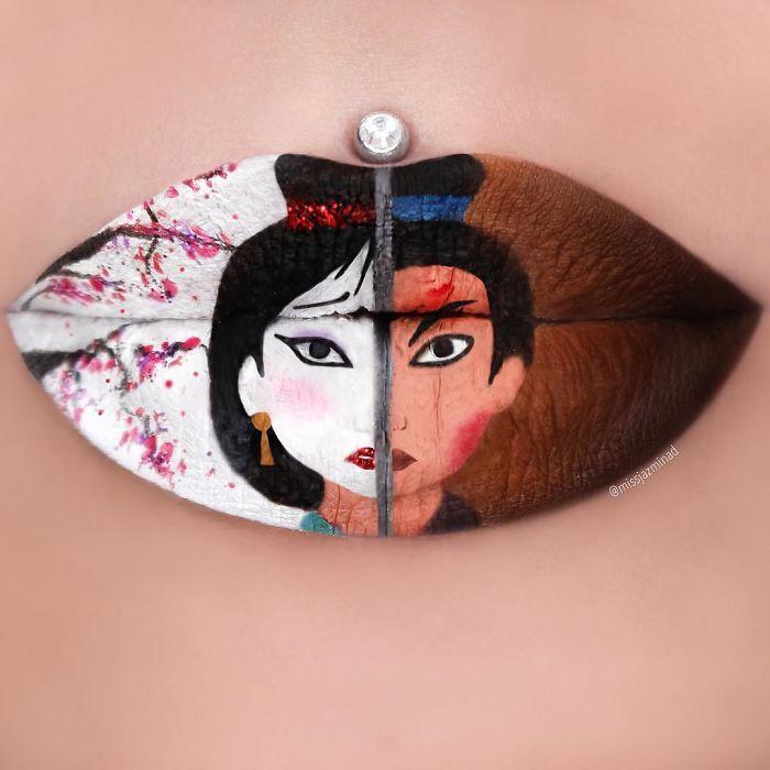 Les créations lip-art de Jazmina Daniel : Mulan
