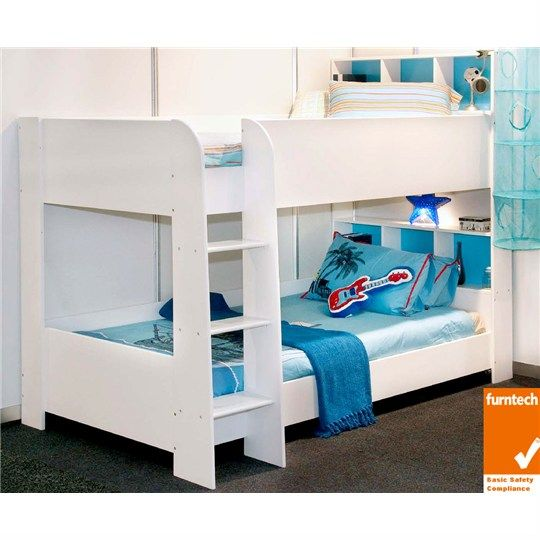 Trindad King Single Bunk Bed White Bunk Beds Kids Bedroom