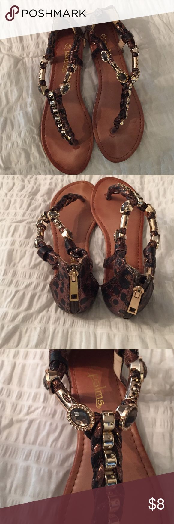 Palms leopard print sandals Bronze leopard print sandals with gold time hardware. Dress any look. Worn once. Shoes Sandals
