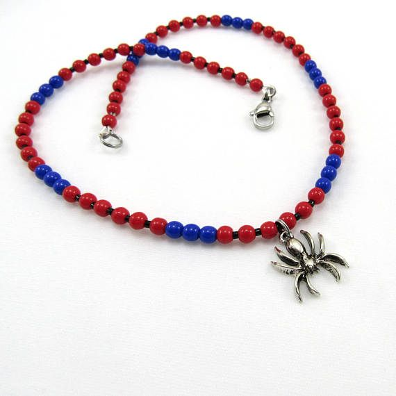Boys Necklace Beaded Spider Necklace for Kids Red and Blue