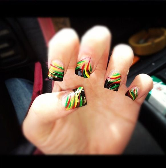 Bob Marley Nail Design Beauty Easts Pinterest Nails Designs And