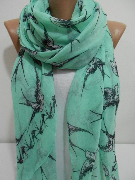 Bird Print Mint Scarf Shawl Women Holiday Fashion Accessories Swallow Oversize Winter Cotton Scarf Valentines Day Gift ideas For Her Teens