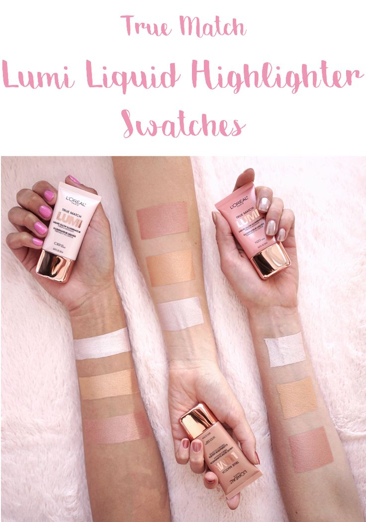 Swatches of L'Oreal True Match Lumi Liquid Highlighter in shades Ice, Golden, and Rose.