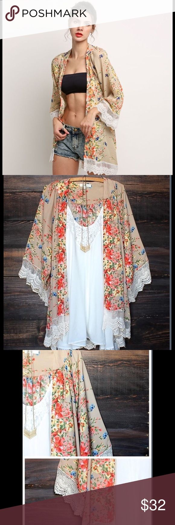 NWT Floral Print Loose Chiffon Cardigan Top Floral Print Chiffon Cardigan Top.  Material: Chiffon and Lace, Multicolor Floral Print.  So versatile for the Spring and Summer!!  Lovely!!  NWT!! Tops