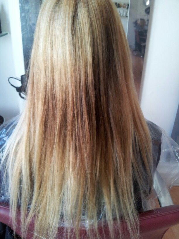 *BEFORE* home colour blonde