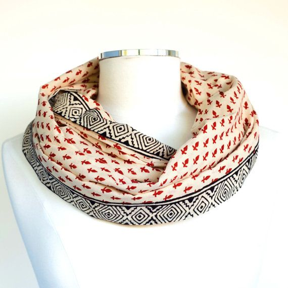 Flowers Infinity Scarf - Hand block printed, All Natural Vegetable Dyes, 100% Cotton Loop Scarf, Infinity Cowl, Tube Scarf