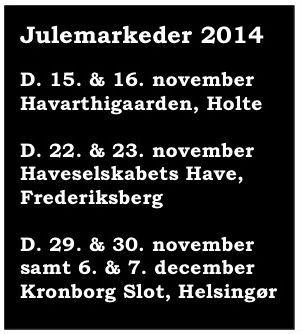 Så er årets julemarkeder 2014 i kalenderen. Besøg de stemningsfulde julemarkeder i Holte, Helsingør og Frederiksberg Have.