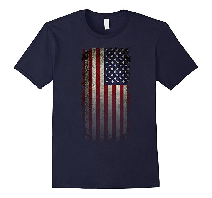 Amazon.com: American Faded Flag Banner in Super Grunge T-Shirt: Clothing