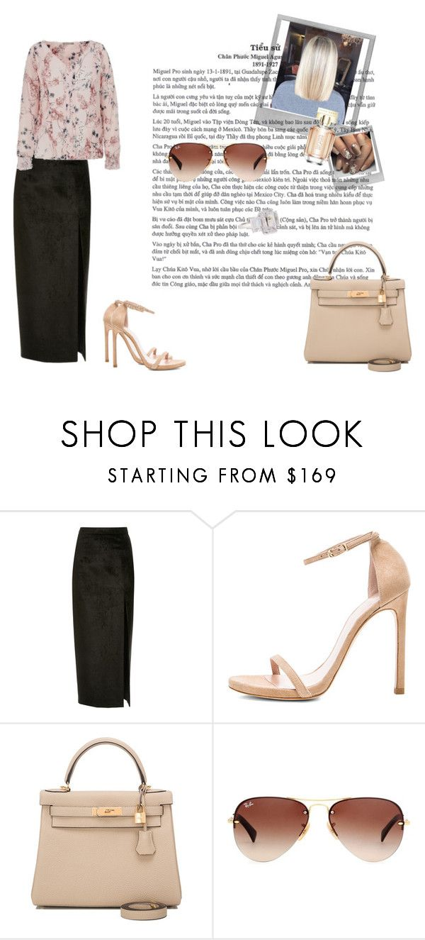 """Tara - Los Angeles 04.11."" by anettkoo ❤ liked on Polyvore featuring Sally Lapointe, Stuart Weitzman, Hermès, Polaroid, HUGO, Ray-Ban and Fantasia by DeSerio"