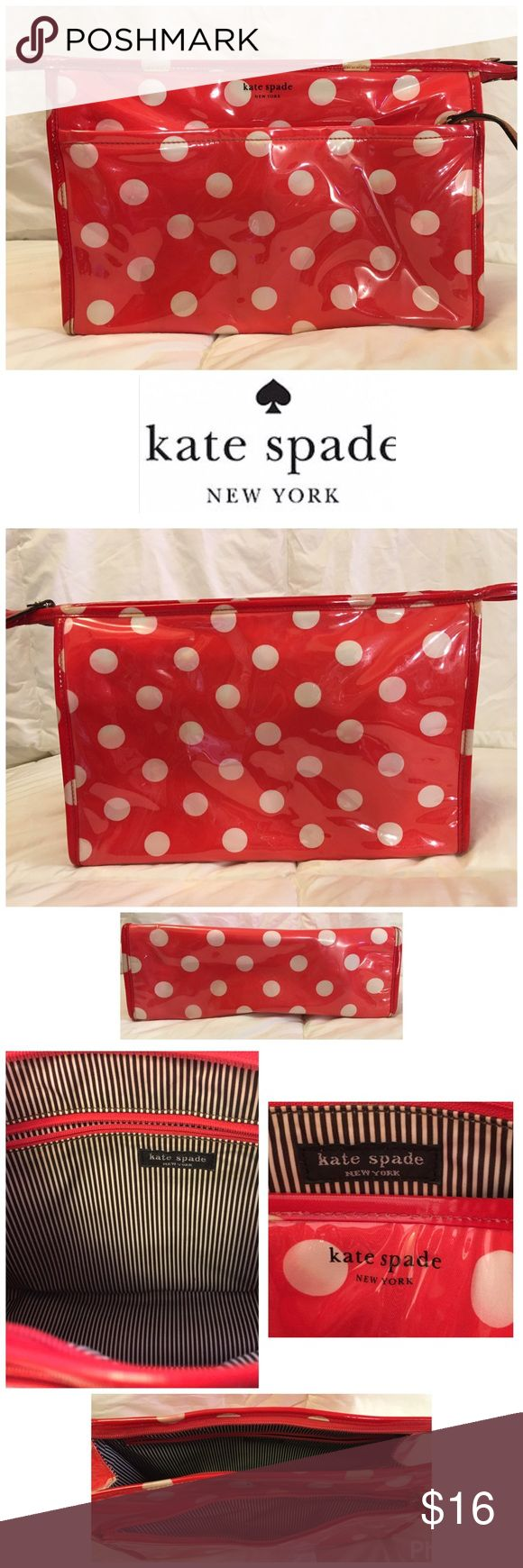 Kate Spade ♠️ Polk a Dot Large Makeup Bag 7X12 Kate Spade ♠️ Polk a Dot Large Makeup Bag 7X12 tiny stain see4th Photo kate spade Bags Cosmetic Bags & Cases