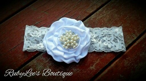 #Pearl #White #Lace #Headband #RubyLee'sBoutique