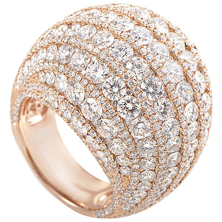 Simon G. Diamond Pave Gold Dome Ring | From a unique collection of vintage dome rings at https://www.1stdibs.com/jewelry/rings/dome-rings/