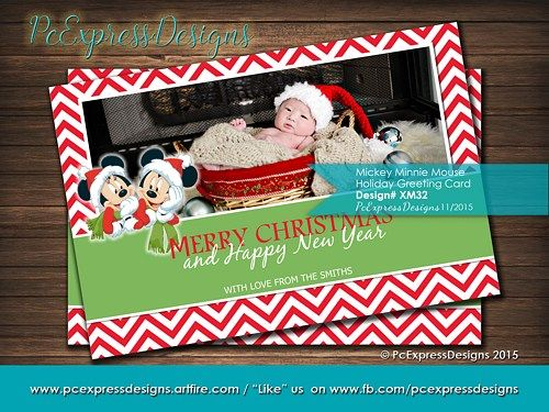21 best christmas greeting cardsinvitations images on pinterest mickey mouse minnie mouse christmas greeting card is customized to either 4x6 or 5x7 high resolution m4hsunfo