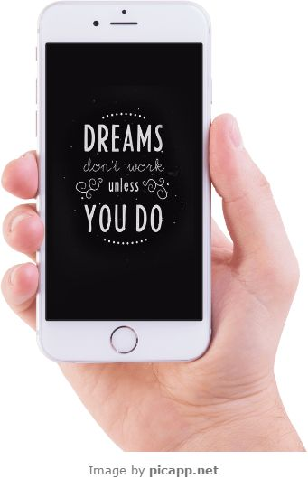 Dreams don't work unless you do.  This image with black screenshot and a cool quote was created with an online tool: Picapp.net. In this season, you can choose a device frame with a red bow or a Santa's hat. Be in Christmas spirit!  #dreams #quote #picapp #iphoneinhand #picapp #whiteiPhone