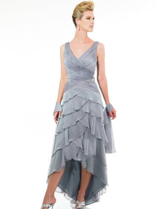 victoriapromdresses.com offer cheap Asymmetrical V-Neck Ruched Chiffon Satin Ankle-Length Mother Of Bride Dress Online