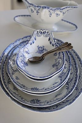 These blue and white dishes are on a Swedish blog. I can't find where to purchase them.
