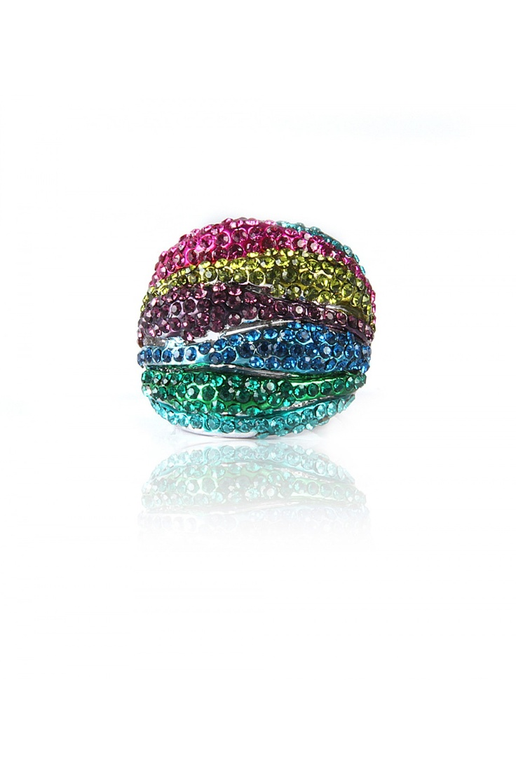 Vibrant Bubble Ring -  3 Dimensional Bubbles Merge Together To Form a Dome Shape, Vibrant Colored Crystal Encrusted Bubbles, Nickel Finishing...... - Rs. 599.00