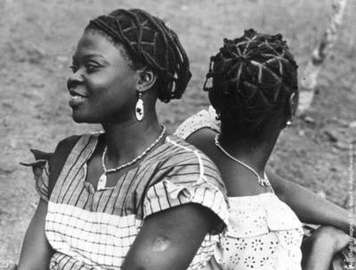 Women from Nsukka with intricately coiffured hair  1956