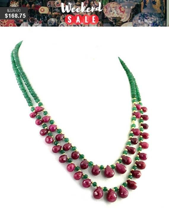 Two Row Emerald Necklace With Ruby Drops and #weddings #jewelry @EtsyMktgTool #beadswholesale #beadedjewelery #designernecklace