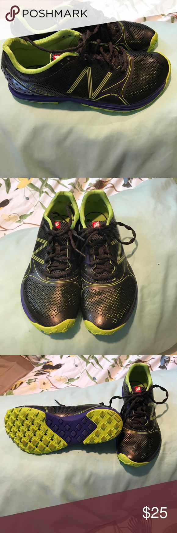 New Balance Trail shoes 110 New Balance 💜size women's 8, run narrow.  Purple 💜lime💜black. No inserts in them.  Light, fancy free. New Balance Shoes Athletic Shoes
