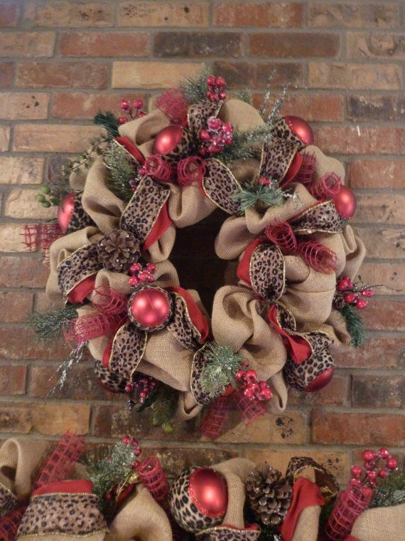 Natural burlap christmas wreath and garland with leopard Burlap xmas wreath