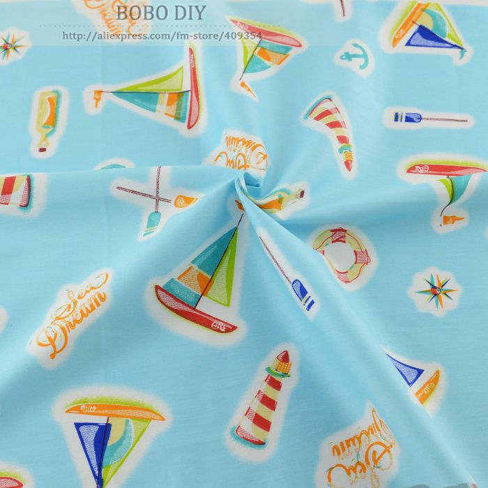 50cmx160cm/piece blue ship printed cotton fabric Quilting bedding clothing scrapbooking  patchwork sewing tilda tecido telas