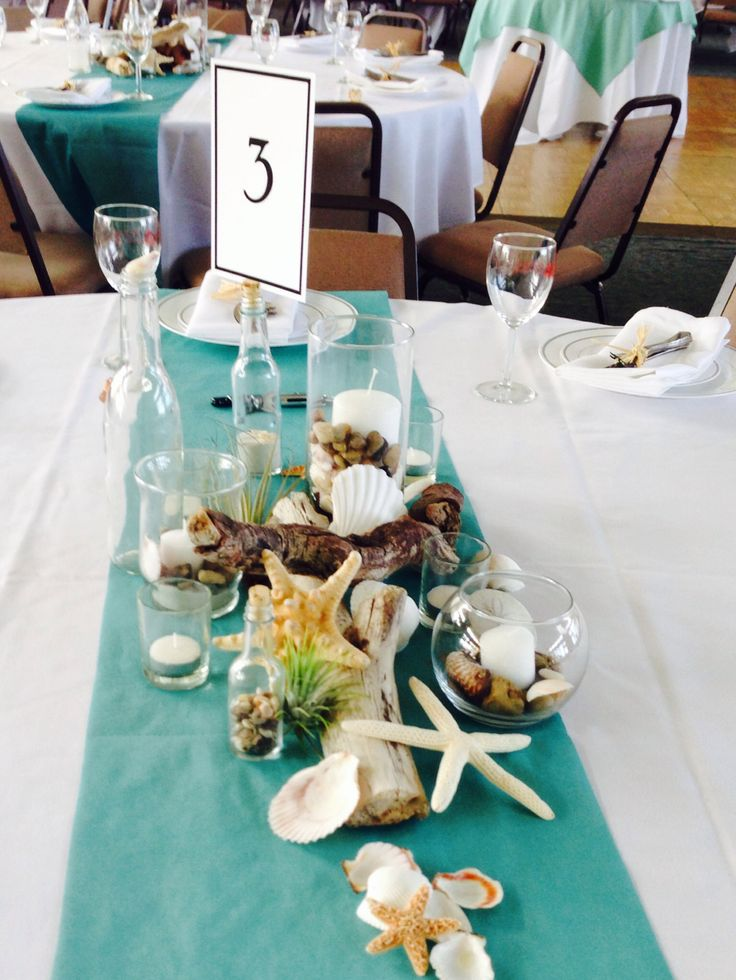 diy beach theme wedding centerpieces%0A Coastal beach centerpieces  So much fun  I love how versatile an ocean theme  can