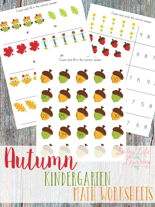 Get a grip on number sense, addition, subtraction and skip counting with these wonderful autumn kindergarten math worksheets