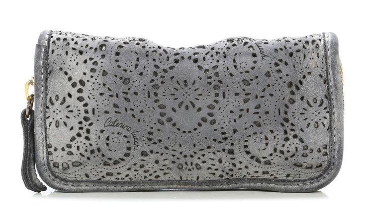 Geldbörse Damen Leder grau 21 cm